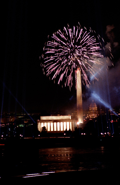 Night scene of the fireworks on the mall that brought the Inauguration Day celebration to a close. In this scene you can see the Lincoln Memorial, the Washington Monument and the U.S. Capitol