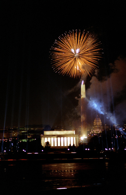 Night scene of the fireworks on the mall that brought the Inauguration Day celebration to close. In this scene you can see the Lincoln Memorial, the Washington Monument and the U.S. Capitol