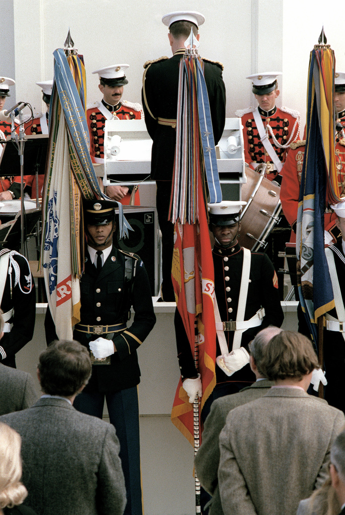 The Army and Marine Corps members of the all-service color guard stand at parade rest with their respective service flags in front of the U.S. Capitol