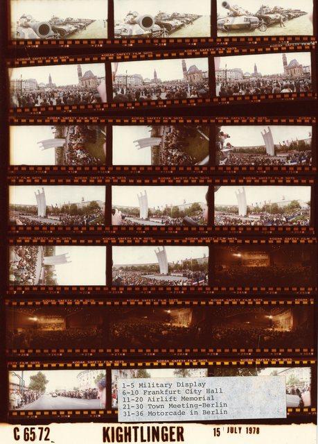 1-5 Military Display; 6-10 Frankfurt City Hall; 11-20 Airlift Memorial; 21-30 Town Meeting -- Berlin; 31-36 Motorcade in Berlin