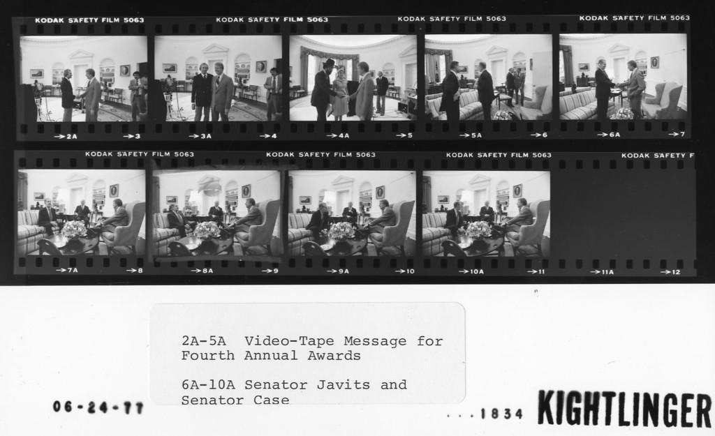 2-5 Video-Tape Message for Fourth Annual Awards; 6-10 Senator Javits and Senator Case