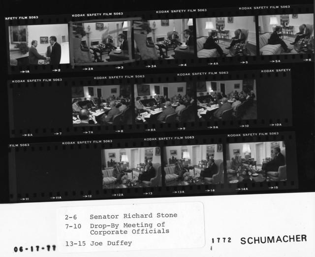 2-6 Senator Richard Stone; 7-10 Drop-By Meeting of Corporate Officials; 13-15 Joe Duffey