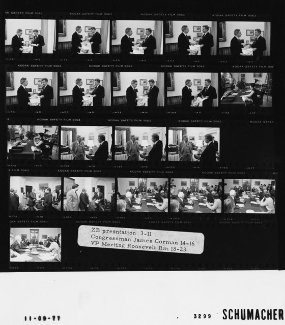 3-11 ZB presentation; 14-16 Congressman James Corman; 18-23 Vice President Meeting Roosevelt Room