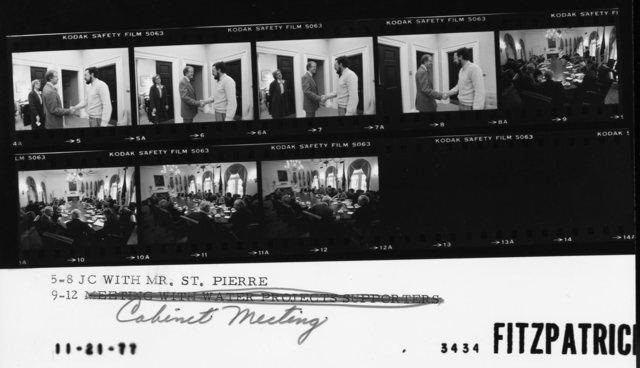 5-8 Jimmy Carter with Mr. St. Pierre; 9-12 Cabinet Meeting