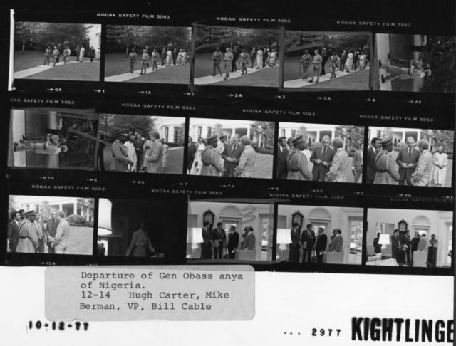 Departure of Gen Obass anya of Nigeria. 12-14 Hugh Carter, Mike Berman, Vice President, Bill Cable