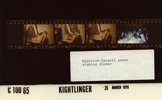 Egyptian-Israeli State Dinner - Harpist and Cyrus Vance's table