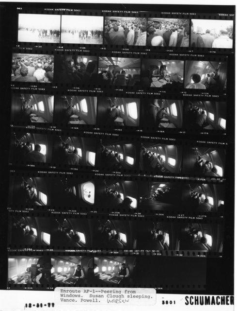 Enroute AF-1 -- Peering from Windows. Susan Clough sleeping. Vance. Powell. Warsaw