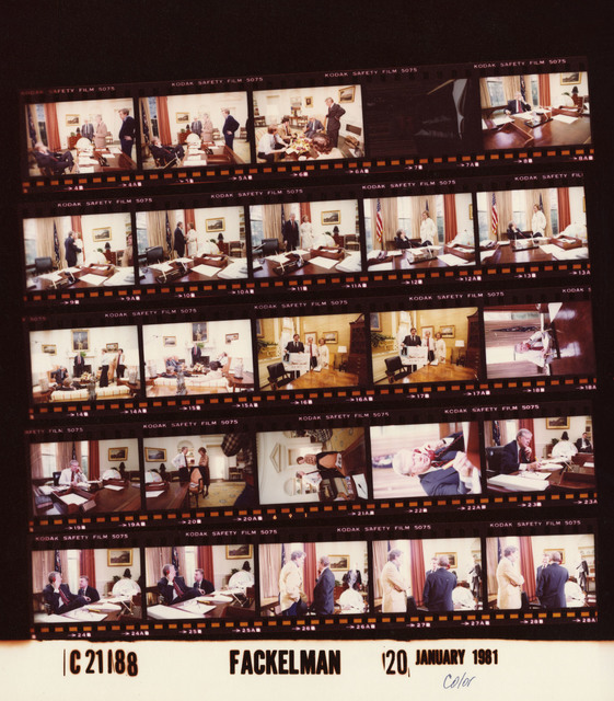 Jimmy Carter - And staff in Oval Office negotiating release of Iranian hostages, Rosalynn Carter, Fr. 9-13; Jimmy Carter and Roslayn Carter - In Outer office, Fr. 16-17; Talking on the red phone, Fr. 18-19; Fr.22, 24-28