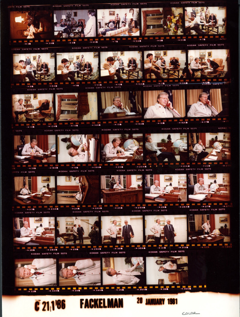Jimmy Carter - And staff in Oval Office negotiating release of Iranian hostages, Talking on the red phone, Fr. 15-17