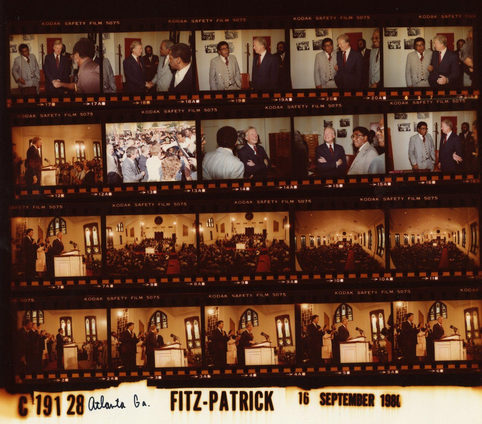 Jimmy Carter -  Atlanta, Georgia at Ebenezer Baptist Church with Andrew Young, Maynard Jackson and Coretta Scott King