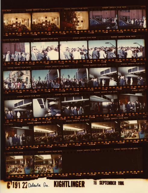 Jimmy Carter - Atlanta, Georgia at Ebenezer Baptist Church with members of the Martin Lurther King Jr. family, Fr. 2-4; Walking in Atlanta, Fr. 5-14; Hartsfield Airport with Mayor Maynard Jackson, Fr. 15-28