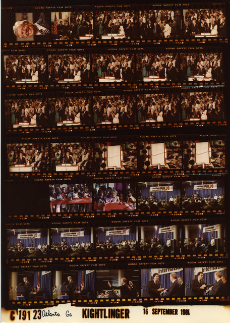 Jimmy Carter - Good head shot, Fr. 2; Atlanta, Georgia at Ebenezer Baptist Church with members of the Martin Lurther King Jr. family, Fr. 2-4; Children in Atlanta, Fr. 23-24; Hartsfield Airport with Mayor Maynard Jackson, Fr. 25-36