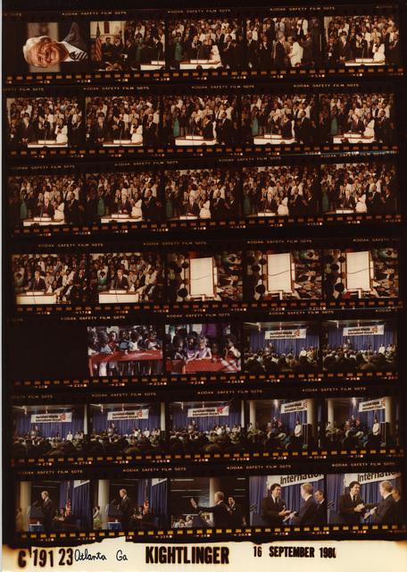 Jimmy Carter - Good head shot, Fr. 2; Atlanta, Georgia at Ebenezer Baptist Church with members of the Martin Lurther King Jr. family, Fr. 2-4; Children in Atlanta, Fr. 23-24; Hartsfield Airport with Mayor Maynard Jackson, Fr. 25-36