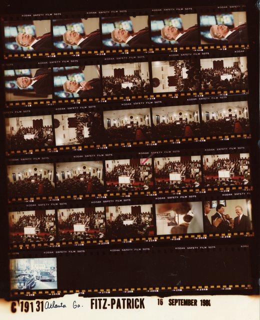 Jimmy Carter -  Head shot, Atlanta, Georgia at Ebenezer Baptist Church at pulpit, Fr. 1-7; Addressing crowd at Ebenezer Baptist Church which includes Coretta Scott King, Martin Luther King, Sr., Maynard Jackson and Andrew Young, Fr. 8-25; Limousine on Atlanta streets, Fr. 26