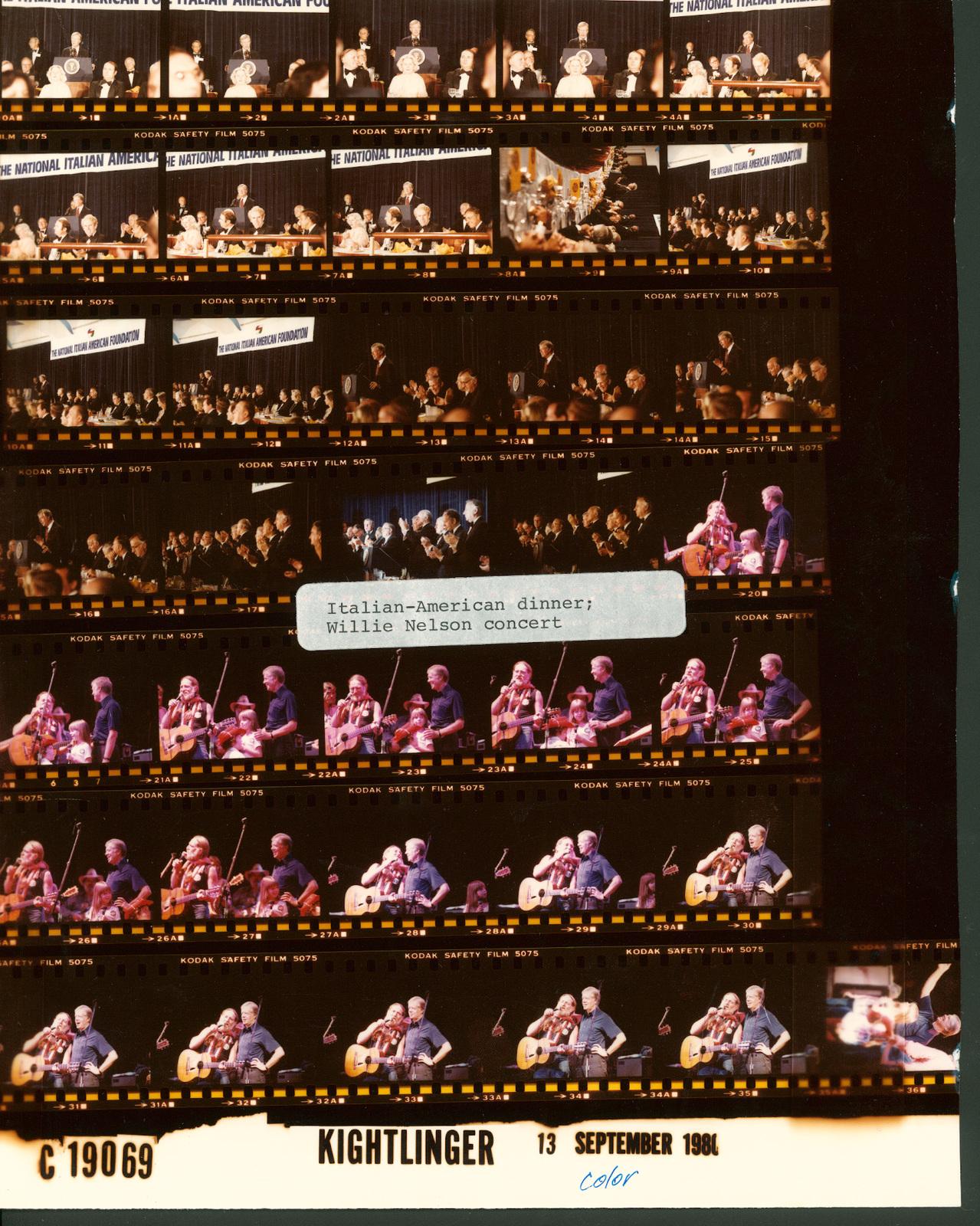 Jimmy Carter - Italian-American dinner, Fr. 1-19; Willie Nelson concert, Fr. 20-36