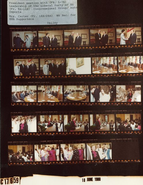 Jimmy Carter - Meeting with Leadership of Liberal Party of New York, Fr. 1-7; Meeting with Congressional Group/Automobile Imports, Fr. 9A-11A;