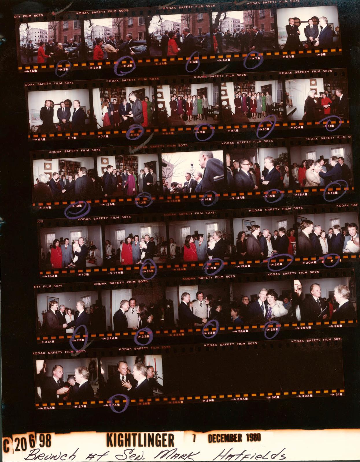 Jimmy Carter, Rosalynn Carter and Amy Carter - Brunch at Senator Mark Hatfield's home; Billy Graham, Fr. 6-7 & 26-28