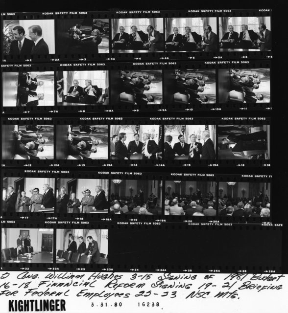 Jimmy Carter - With Congressman William Hughes in Oval Office, Fr. 2; Signing of 1981 Budget, Fr. 3-15; Financial Reform Signing, Fr. 16-18; Briefing for Federal Employees, Fr. 19-21; National Security Council Meeting, Fr. 22-23