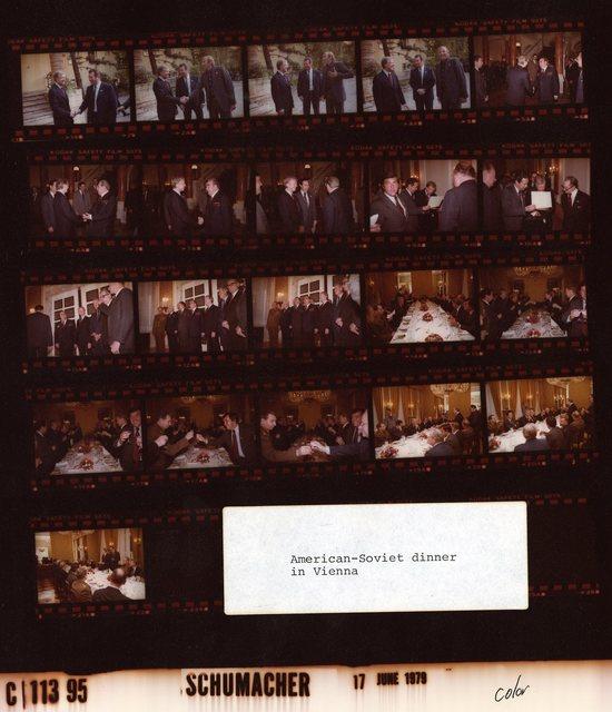 Jimmy Carter - With Soviet Union President, Leonid Brezhnev at American-Soviet dinner in Vienna, Austria