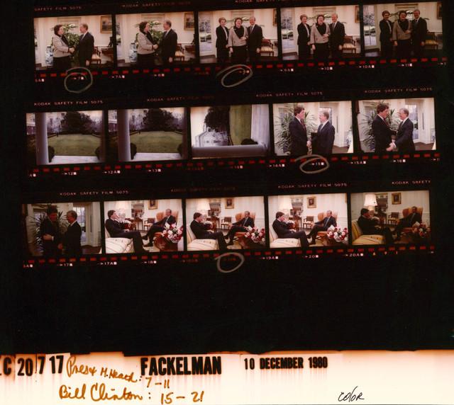 Jimmy Carter - With volunteer, Mariwyn Heath in the Oval Office, Fr. 7-8;  With Sarah Weddington and Mariwyn Heath,  Fr. 9-11; With Governor William Jefferson (Bill) Clinton of Arkansas in the Oval Office, Fr. 15-21