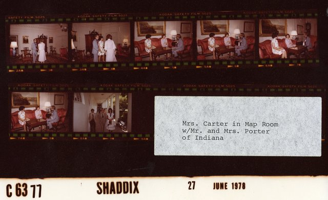 Mrs. Carter in Map Room with Mr. and Mrs. Porter of Indiana