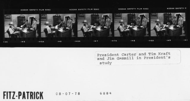 President Carter and Tim Kraft and Jim Gammill in the President's study