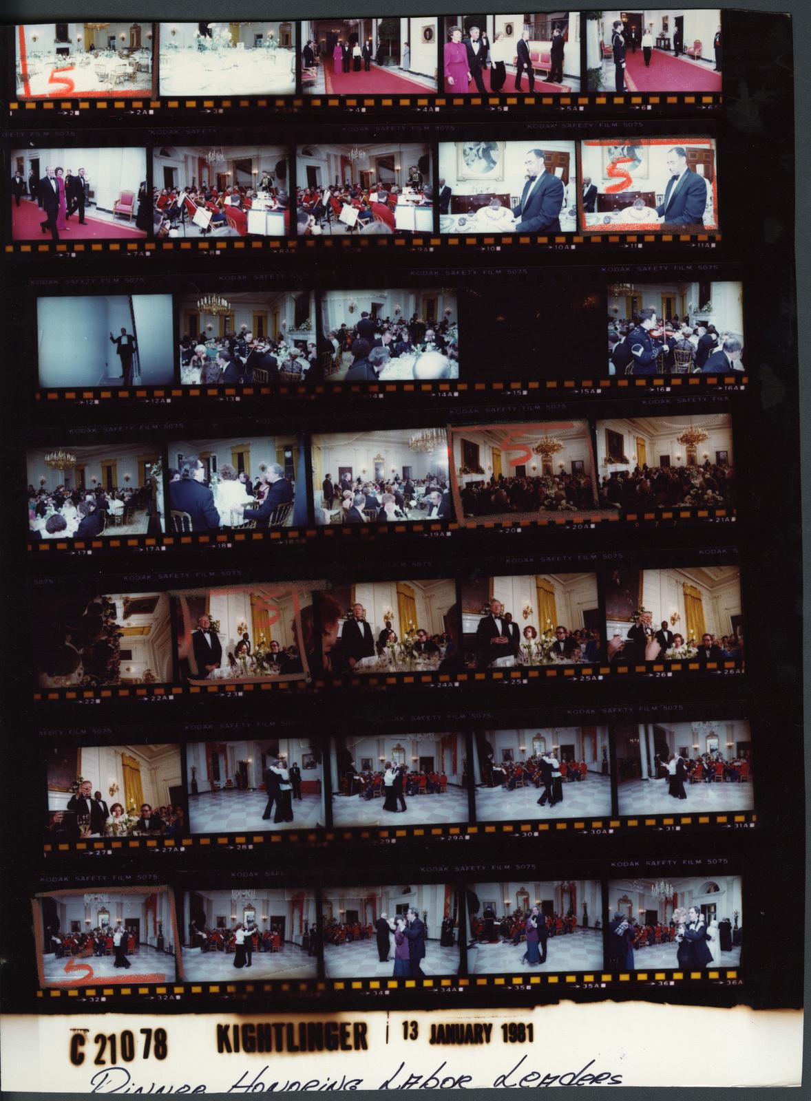 Table settings, Fr. 2-3; Jimmy Carter and Rosalynn Carter - Dinner honoring Labor Leaders, Fr. 4-7; USMC Orchestra, Fr. 8-9; Waiter staff serving, Fr. 10-11; Jimmy Carter and Rosalynn Carter - Dinner honoring Labor Leaders, Fr. 13-27; Jimmy Carter and Rosalynn Carter - Leading dancing after dinner, Fr. 28-36