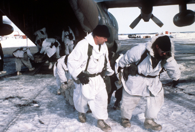 Army personnel unload a C-130 Hercules a aircraft at Clear Creek Landing Zone, Alaska, during exercise Brim Frost '81