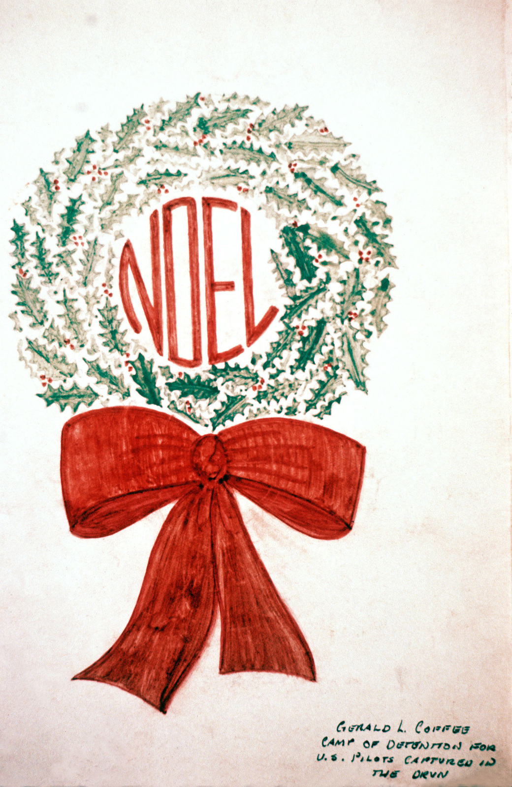 "Artwork: Prisoners of War Art - Vietnam, camp of detention for U.S. pilots captured in Vietnam - untitled (""Noel"" wreath) Artist: Gerald L. Coffee"