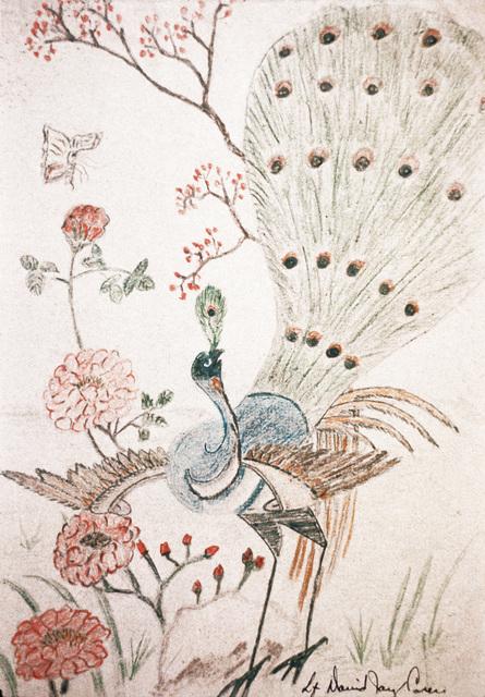 "Artwork: Prisoners of War Art - Vietnam, ""Hanoi Hilton"" camp of detention for U.S. prisoners captured in Vietnam - untitled (peacock and flowers) Artist: LT David Jay Carey"