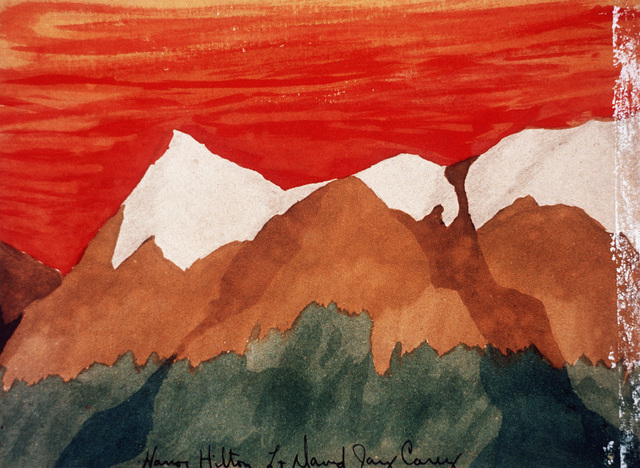 "Artwork: Prisoners of War Art - Vietnam, ""Hanoi Hilton"" camp of detention for U.S. prisoners captured in Vietnam - untitled (mountain landscape - capped in white) Artist: LT David Jay Carey"