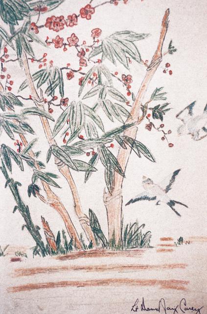 "Artwork: Prisoners of War Art - Vietnam, ""Hanoi Hilton"" camp of detention for U.S. prisoners captured in Vietnam - untitled (tropical foliage/birds) Artist: LT David Jay Carey"