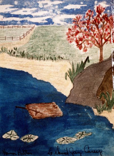 """Artwork: Prisoners of War Art - Vietnam, """"Hanoi Hilton"""" camp of detention for U.S. prisoners captured in Vietnam - untitled (landscape) Artist: LT David Jay Carey"""