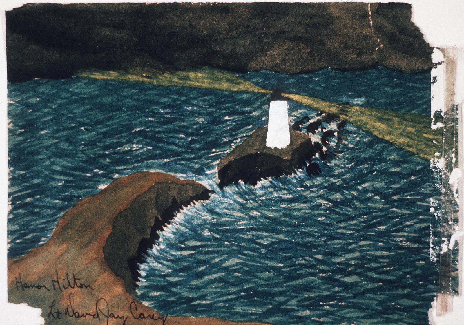 "Artwork: Prisoners of War Art - Vietnam, ""Hanoi Hilton"" camp of detention for U.S. prisoners captured in Vietnam - untitled (lighthouse on island) Artist: LT. David Jay Carey"