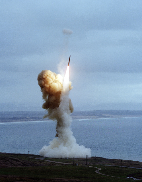 A Minuteman III intercontinental ballistic missile (ICBM) is launched off the California coast