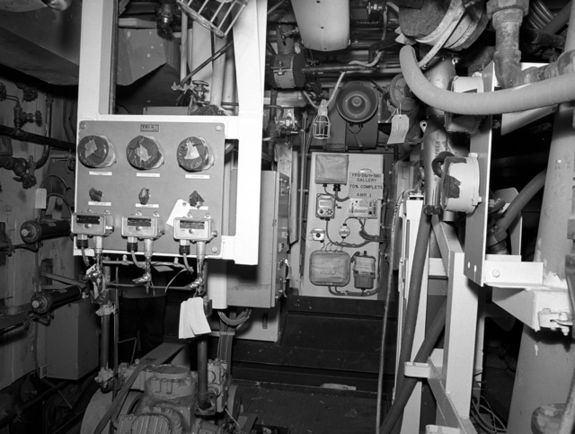 Auxiliary machinery room No. 1 aboard the Oliver Hazard Perry class guided missile frigate USS GALLERY (FFG 26) at 70 percent completion