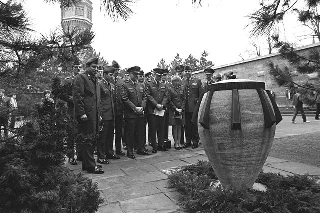 U.S. Air Force Europe outstanding airmen visit the Plotzensea Memorial during a bus tour of West Berlin