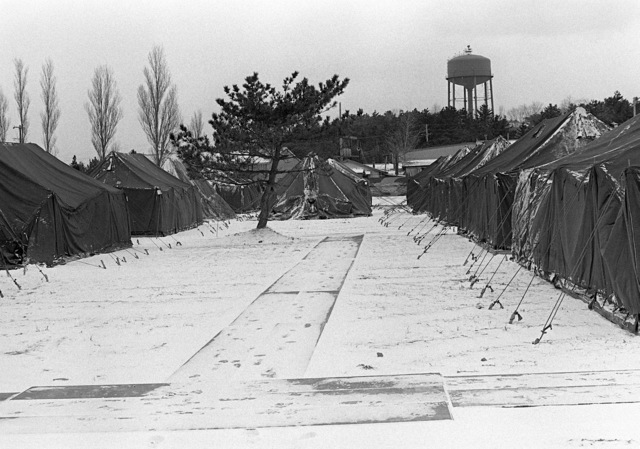 A view of the tent city built to house the participants in Exercise Team Spirit '81