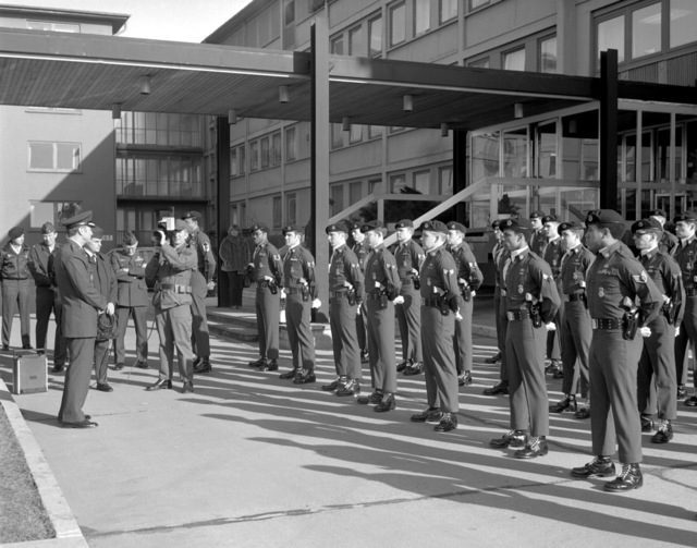 GEN Charles A. Gabriel, commander in chief, U.S. Air Force Europe, visits the commander of the guard at the air base