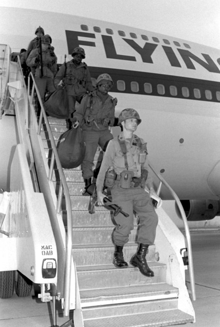 U.S. Army soldiers are airlifted to Osan by the Flying Tiger Airlines for participation in the Joint Chiefs of STAFF Exercise Team Spirit '81