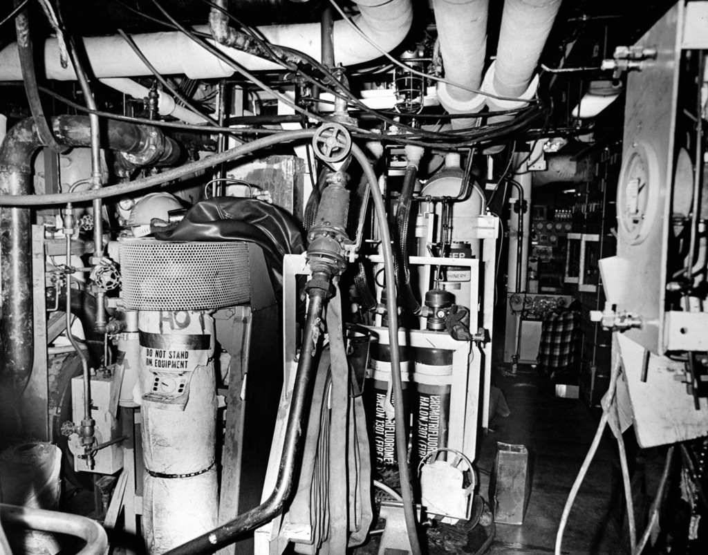 An interior view of auxiliary machine room No. 2 on the guided missile frigate USS ANTRIM (FFG 20) at 90 percent completion
