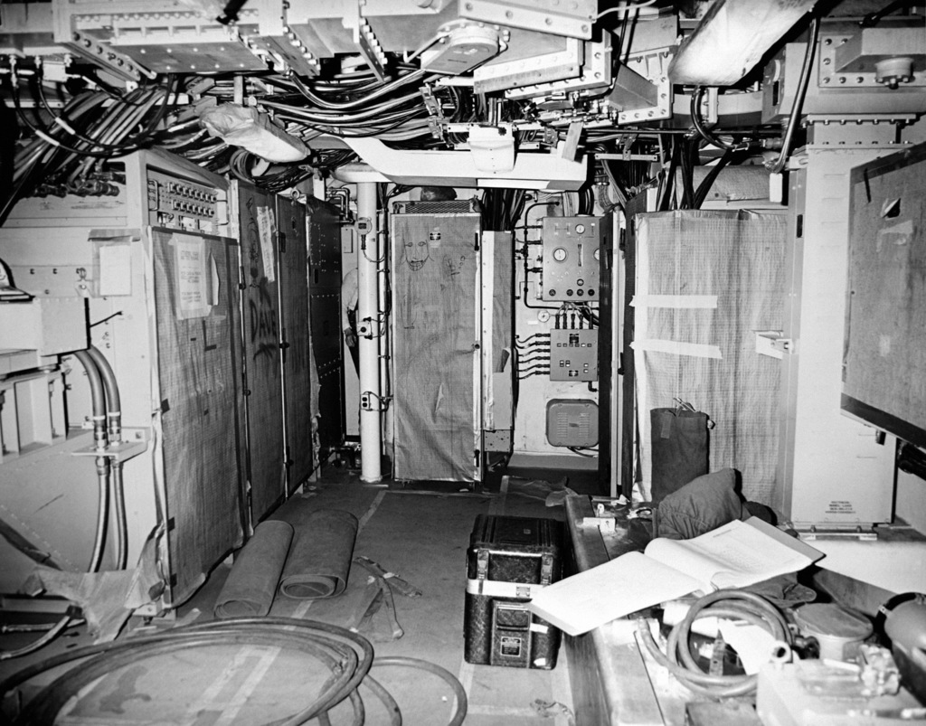 An interior view of the radar, IFF and combat information center space on the guided missile frigate USS ANTRIM (FFG 20) at 90 percent completion