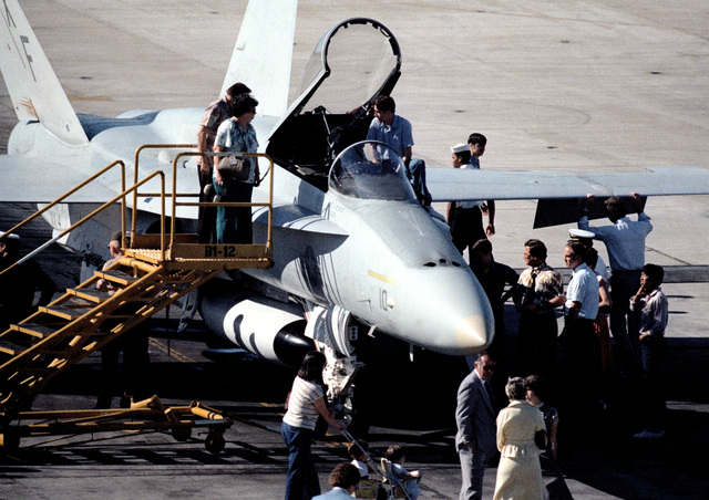 Visitors to Pacific Missile Test Center examine an F/A-18 Hornet aircraft from Air Test and Evaluation Squadron Four (VX-4) during an open house
