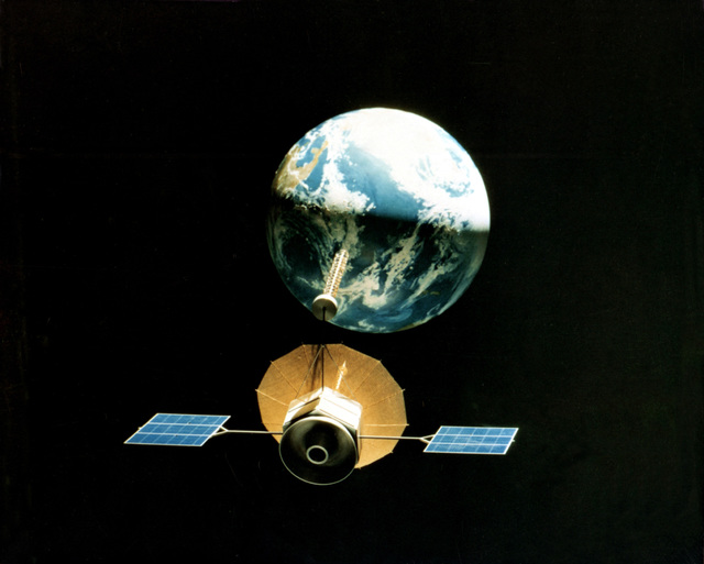 An artist's concept of the Fleet Satellite Communication System Satellite in space