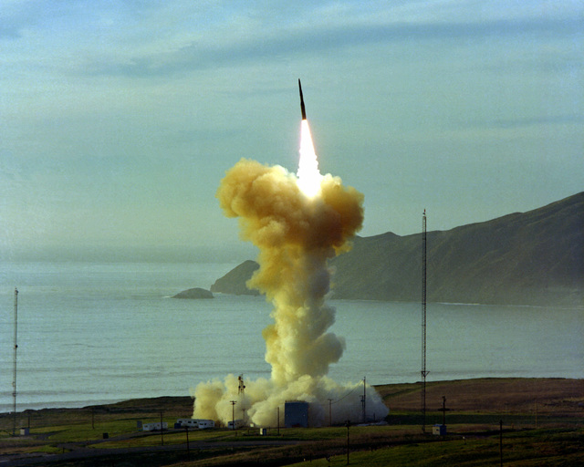 AN LGM-30 Minuteman I Intercontinental ballistic Missile (ICBM) is launched from Launch Facility 6. The missile is unarmed