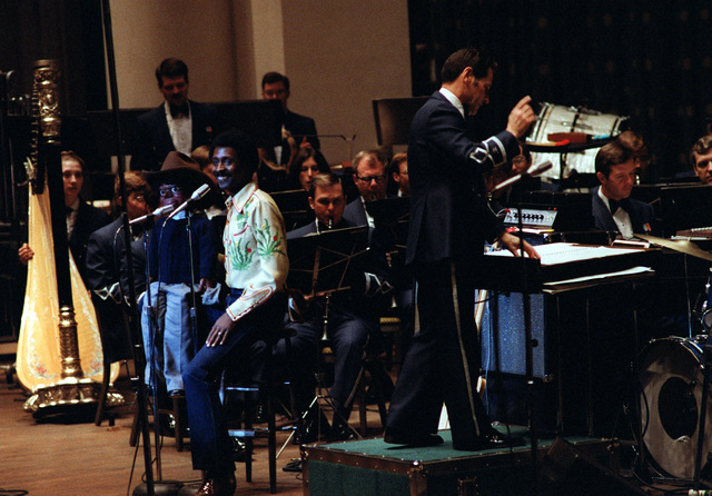 Guest performer Willie Tyler and Lester make an appearance with the U.S. Air Force band during a concert at D.A.R. Constitution Hall