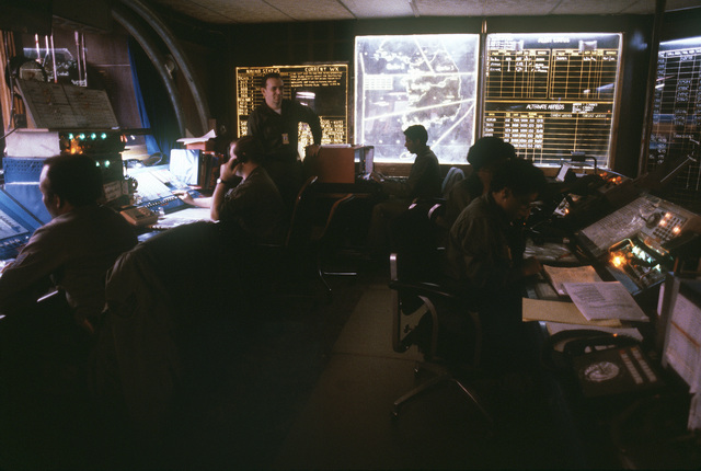 314th Air Division members work in the command post during exercise Team Spirit '81