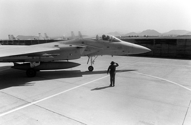 A ground crew member marshals an F-15 Eagle aircraft into a parking position on the apron.. The aircraft is assigned to the 18th Tactical Fighter Wing, involved in exercise Team Spirit '81