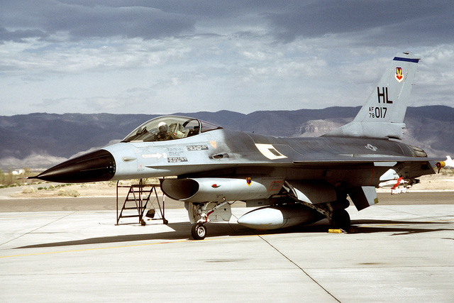 A left front view of an F-16A Fighting Falcon aircraft taxiing out during exercise Border Star '81. The aircraft is assigned to the 34th Tactical Fighter Squadron, 388th Tactical Fighter Wing