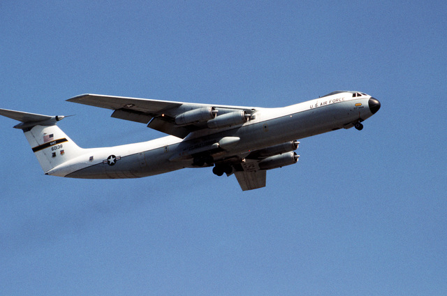 A right front view of a 63rd Military Airlift Wing C-141 Starlifter aircraft taking off during exercise Team Spirit '81